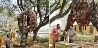 Professor Transforms Recycled Automobile Metal Scrap Into Sculptures in andhra pradesh