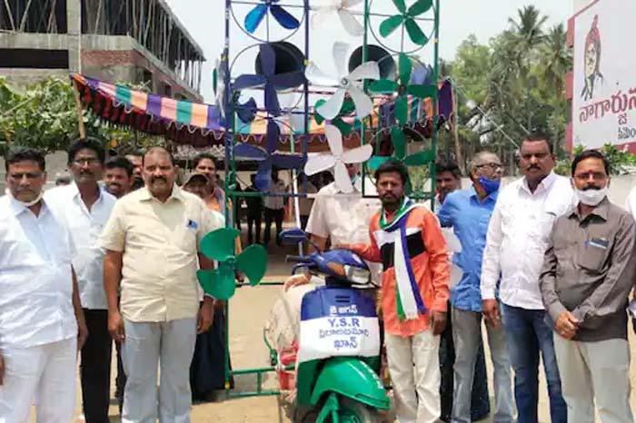 ys jagan follower variety campaign for parishad elections