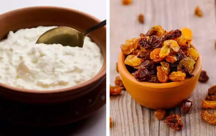 health benefits of having curd with raisins