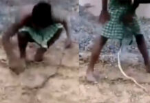Viral Video A Boy Play With Snak unbuttoned lungi his ran