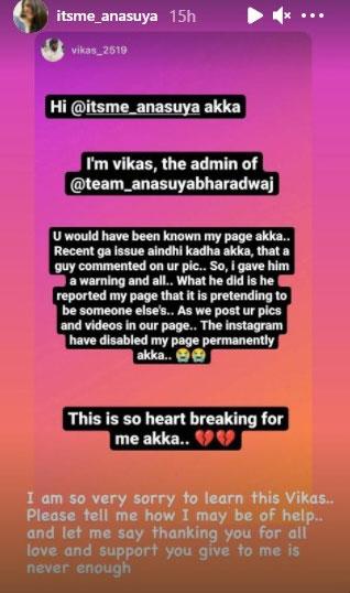 Anasuya Bharadwaj On Her Fan Facebook Page